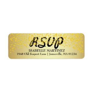 Gold Confetti Sparkle RSVP Return Address Labels