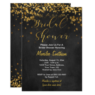 Gold Confetti Stars Chalk Board Bridal Shower Card