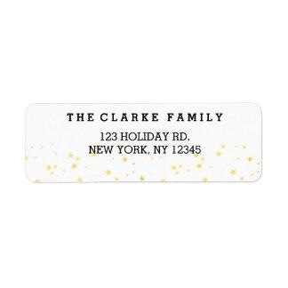 Gold Confetti Stars | Holiday Return Address Label