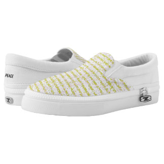 Gold Confetti Stripe Slip On Canvas Shoes
