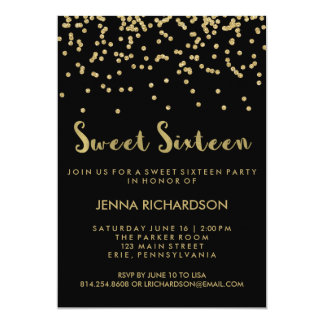Gold Confetti Sweet Sixteen Party on Black Card