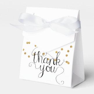 Gold Confetti Thank You Calligraphy Favor Box Wedding Favour Box