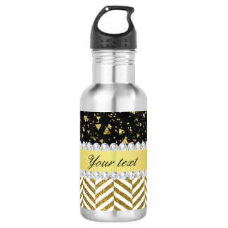 Gold Confetti Triangles Chevrons Diamond Bling 532 Ml Water Bottle