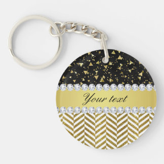 Gold Confetti Triangles Chevrons Diamond Bling Double-Sided Round Acrylic Key Ring