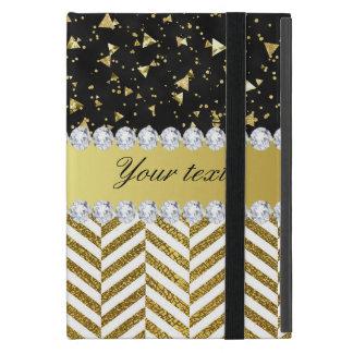Gold Confetti Triangles Chevrons Diamond Bling iPad Mini Case