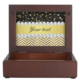 Gold Confetti Triangles Chevrons Diamond Bling Keepsake Box