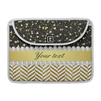 Gold Confetti Triangles Chevrons Diamond Bling MacBook Pro Sleeves