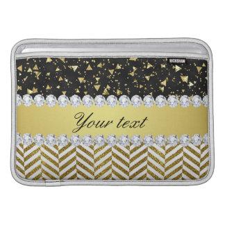 Gold Confetti Triangles Chevrons Diamond Bling MacBook Sleeves