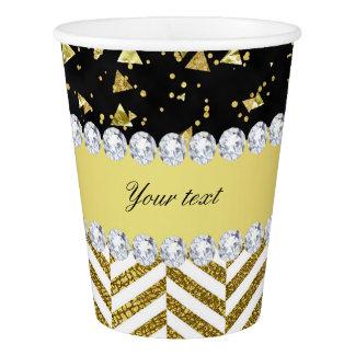 Gold Confetti Triangles Chevrons Diamond Bling Paper Cup