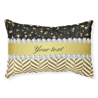 Gold Confetti Triangles Chevrons Diamond Bling Pet Bed