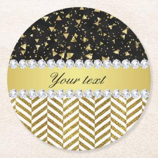 Gold Confetti Triangles Chevrons Diamond Bling Round Paper Coaster