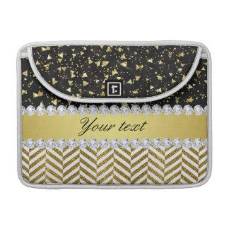 Gold Confetti Triangles Chevrons Diamond Bling Sleeve For MacBook Pro