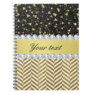 Gold Confetti Triangles Chevrons Diamond Bling Spiral Notebook