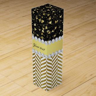 Gold Confetti Triangles Chevrons Diamond Bling Wine Gift Box