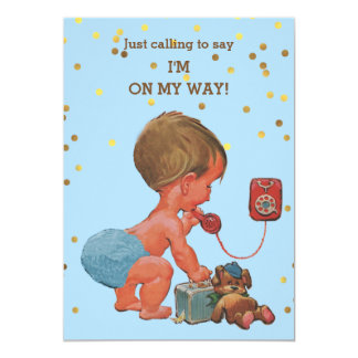 Gold Confetti Vintage Boy on Phone Baby Shower 13 Cm X 18 Cm Invitation Card