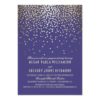 Gold Confetti Vintage Navy Engagement Party Card