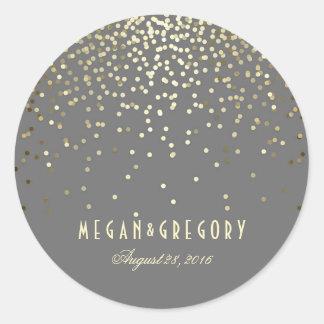Gold Confetti Wedding Classic Round Sticker