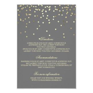 Gold Confetti Wedding Details - Information 9 Cm X 13 Cm Invitation Card
