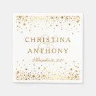 Gold Confetti Wedding Personalised Napkin Paper Napkin