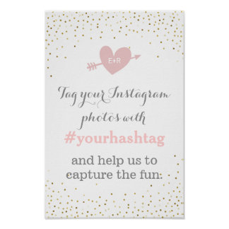 Gold Confetti Wedding Photos Hashtag Sign Poster