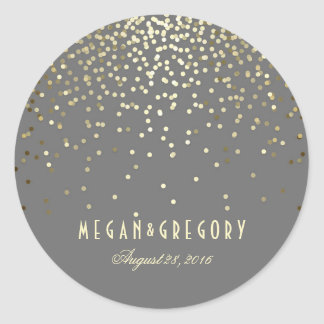 Gold Confetti Wedding Round Sticker