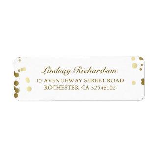 Gold Confetti White Elegant Wedding Return Address Label