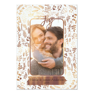 Gold Copper Botanical Modern Glam Holiday Photo Card