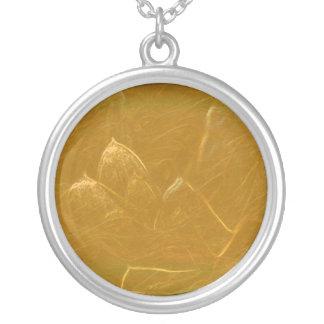 Gold Copper Embossed Waves Lotus Leaf Pendant