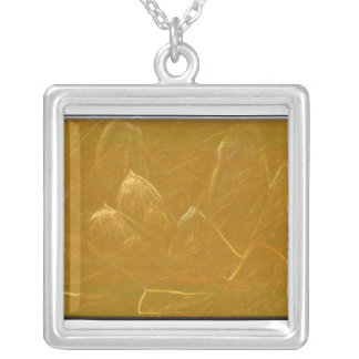 Gold Copper Embossed Waves Lotus Leaf Square Pendant Necklace