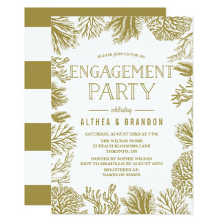 Gold Corals Frame Beach Engagement Party Card