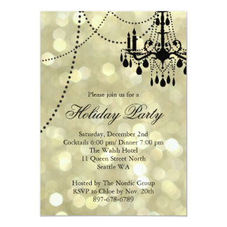 Gold Corporate Chandelier Holiday Party Invite