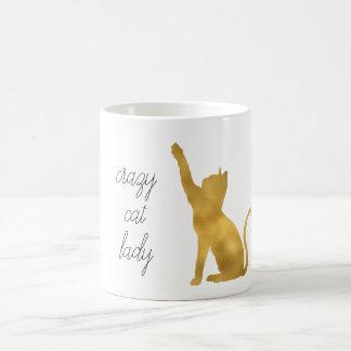 Gold Crazy Cat Lady Coffee Mug