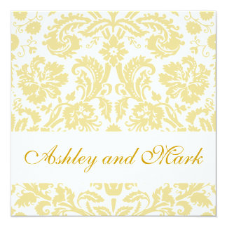 Gold Cream Floral Damask Wedding Invitation