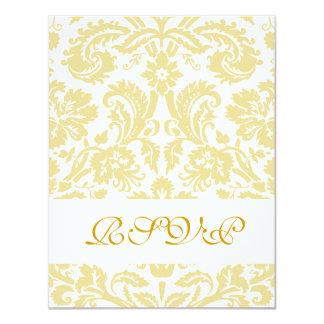 Gold Cream Floral Damask Wedding RSVP Cards