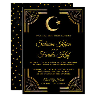 Gold Crescent and Star Islamic Wedding Invitation