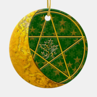 Gold Crescent Moon & Pentacle #5 Ceramic Ornament