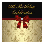 Gold Crest Red Bow Womans Elegant 50th Birthday Custom Announcement
