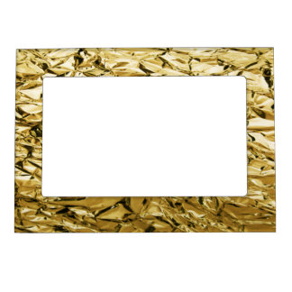 Gold crinkly tin foil plated abstract design magnetic picture frame