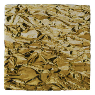 Gold crinkly tin foil plated abstract design trivet