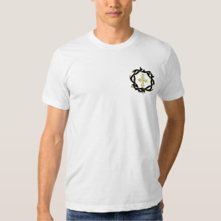 Gold Cross and Crown of Thorns T Shirts