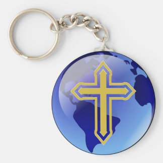 Gold Cross and Earth Basic Round Button Key Ring