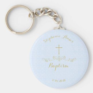Gold Cross and Laurels in Light Blue Basic Round Button Key Ring