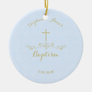 Gold Cross and Laurels in Light Blue Ceramic Ornament