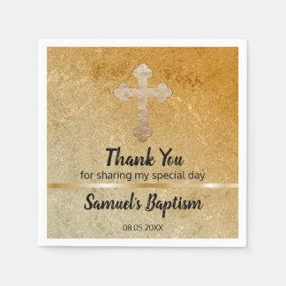Gold Cross Baby Baptism Religious Paper Paper Napkin