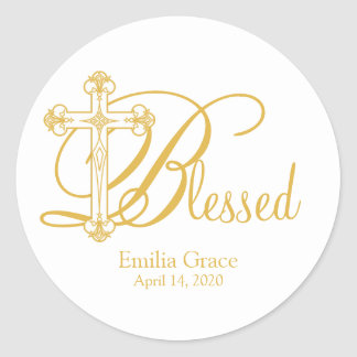 gold cross CHRISTENING custom party favor label Round Sticker