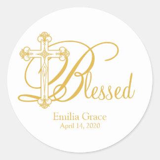 gold cross CHRISTENING custom party favor label Round Sticker