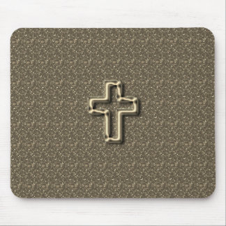 Gold-CROSS-Christian-Faith_Churches_Taupe Mouse Pad