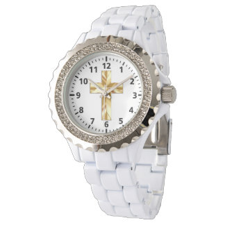 Gold Cross Custom Rhinestone White Enamel Watch