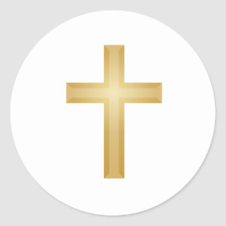 Gold Cross/Easter Round Sticker