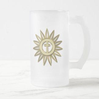 Gold Cross Flower Mug